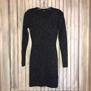 Express Black and Silver Sweater Dress